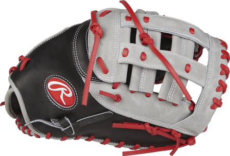 Thumb view of a PROFM20BGS Heart of the Hide 12.25-inch first base mitt with a grey Modified H web