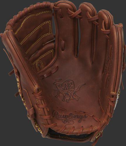 A Rawlings HOH infield/pitcher's glove with a timberglaze palm, web and tan laces - SKU: PRO205-9TI