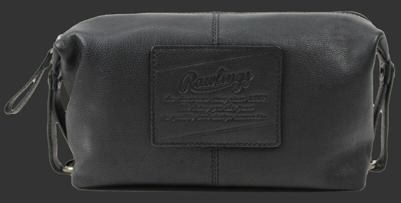 A black Rugged travel kit with a leather patch sewn on with the Rawlings logo and script text underneath - SKU: V625-001