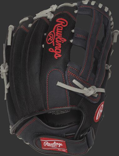 R130BGSH 13-inch Renegade Series recreational baseball/softball glove with a black mesh back and Velcro wrist strap