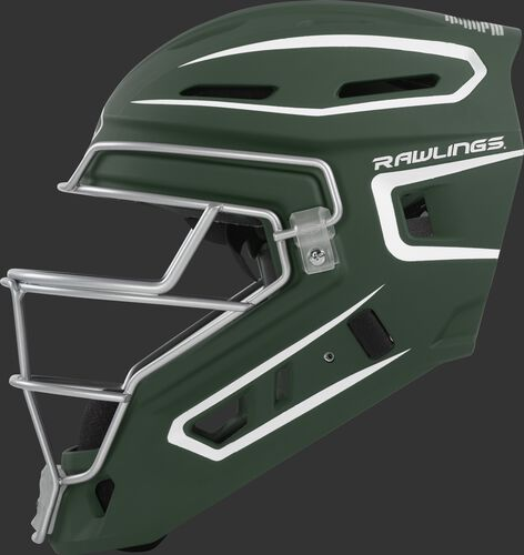 Left side of a dark green CHV27J Rawlings hockey style Velo 2.0 catcher's helmet